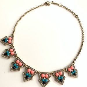 J Crew Statement necklace with neon embedded bead